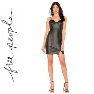 NWT free people vegan leather slip dress